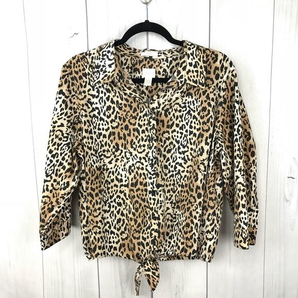 15c63019bb4b97 Chico s Tops - Chico s Leopard Print 3 4 Sleeve Tie Front Top